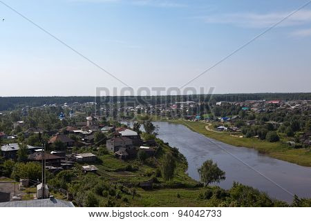 Verkhoturye. View from the bell tower of the Cathedral of the Holy Trinity. Sverdlovsk region.