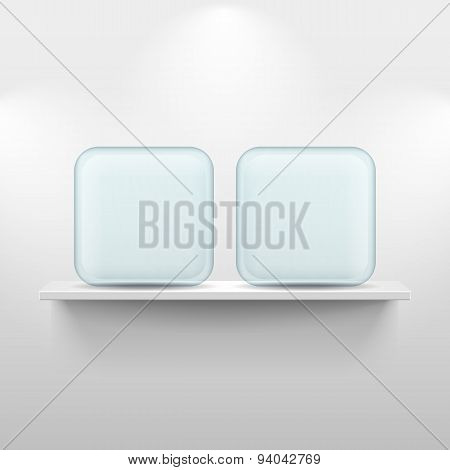 Shelf with glass app icons on white background