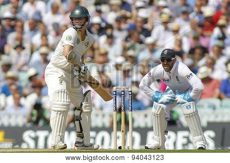 LONDON, ENGLAND - August 21 2013: Chris Rogers and Matt Prior during day one of the 5th Investec Ashes cricket match between England and Australia played at The Kia Oval Cricket Ground