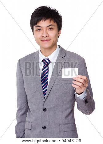 Businessman hold with namecard