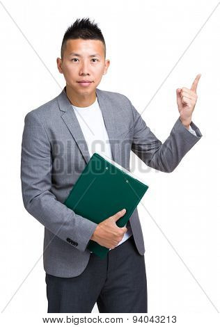 Businessman hold with clipboard and finger point up