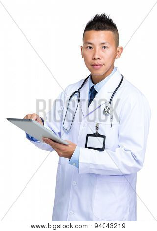Male doctor use of tablet pc