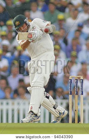 LONDON, ENGLAND - August 22 2013: Ryan Harris plays a shot during day two of the 5th Investec Ashes cricket match between England and Australia played at The Kia Oval Cricket Ground