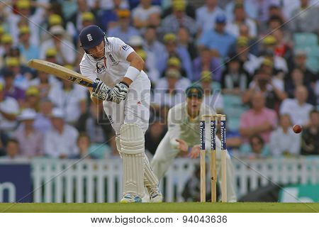 LONDON, ENGLAND - August 22 2013: Joe Root plays a shot during day two of the 5th Investec Ashes cricket match between England and Australia played at The Kia Oval Cricket Ground