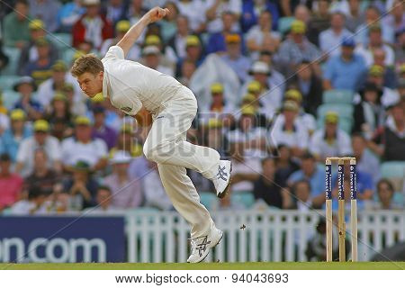 LONDON, ENGLAND - August 22 2013: James Faulkner bowling during day two of the 5th Investec Ashes cricket match between England and Australia played at The Kia Oval Cricket Ground