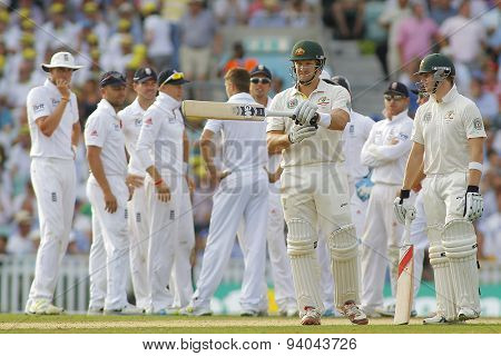 LONDON, ENGLAND - August 21 2013: Shane Watson signals for a DRS review after being given out, the review was sucessfull during day one of the 5th Ashes cricket match between England and Australia