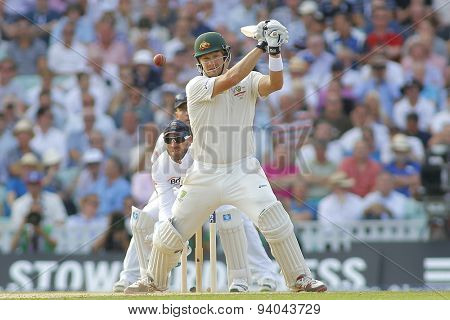 LONDON, ENGLAND - August 21 2013: Shane Watson plays a shot during day one of the 5th Investec Ashes cricket match between England and Australia played at The Kia Oval Cricket Ground