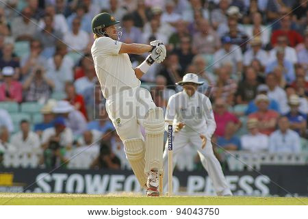 LONDON, ENGLAND - August 21 2013: Shane Watson plays a shot and is caught out during day one of the 5th Investec Ashes cricket match between England and Australia played at The Kia Oval Cricket Ground