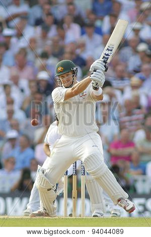 LONDON, ENGLAND - August 21 2013: Shane Watson plays a shot during day one of the 5th Investec Ashes cricket match between England and Australia played at The Kia Oval Cricket Ground on August 21