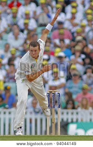 LONDON, ENGLAND - August 25:  Peter Siddle bowling during the Investec Ashes cricket match between England and Australia played at The Kia Oval Cricket Ground on August 25, 2013 in London, England.