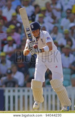 LONDON, ENGLAND - August 25:  Joe Root plays a shot during the Investec Ashes cricket match between England and Australia played at The Kia Oval Cricket Ground on August 25, 2013 in London, England.