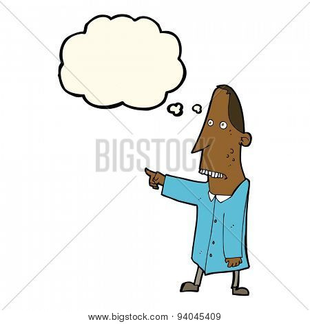cartoon ugly man pointing with thought bubble
