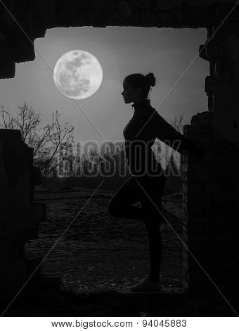 Beautiful Girl Working Out Under The Moonlight