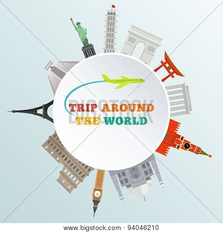 vector illustration of historical monument around earth