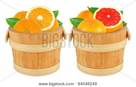 grapefruit and orange in the bucket