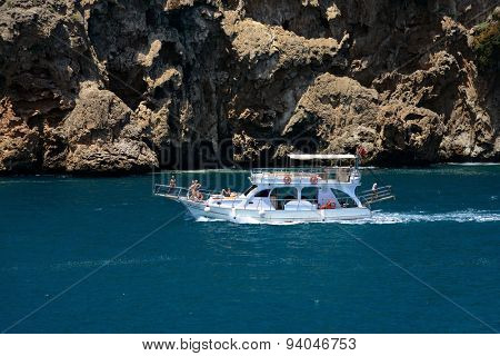 Antalya, Turkey, June 5, 2015. Pleasure boat in the sea near Antalya