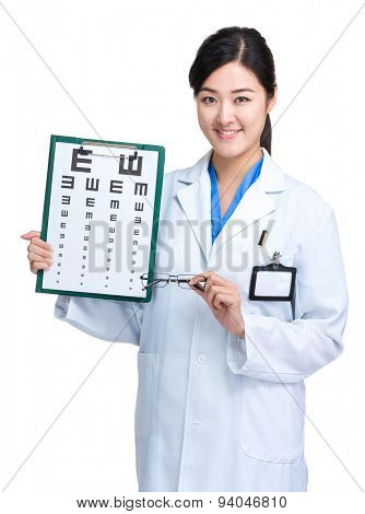 Optical doctor hold with eye chart and glasses