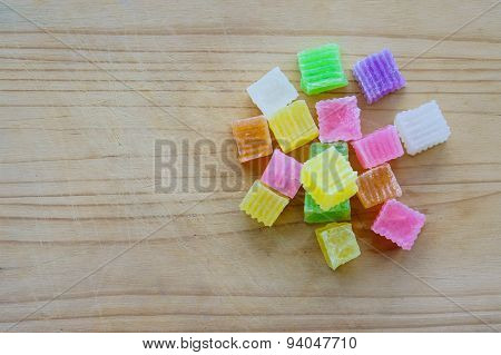 Colorful Of Thai Dessert Crispy Jelly, Sweet