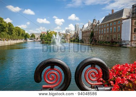 View Of The Hofvijver And The Binnenhof In The Hague