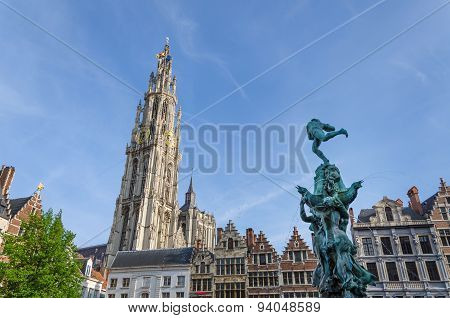 Antwerp, Belgium - May 10, 2015: Grand Place In Antwerp, Belgium.