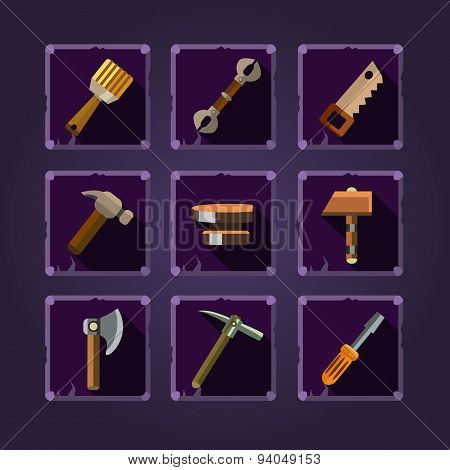 Set of cartoon hand tools. Vector