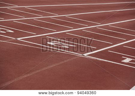 White Numbers In A Athletic Running Track