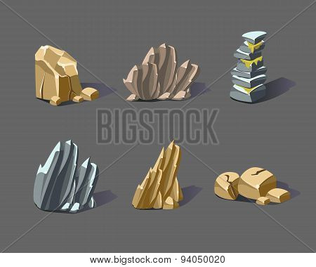 Cartoon Vector Stones and Minerals
