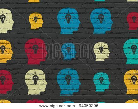 Information concept: Head With Light Bulb icons on wall background