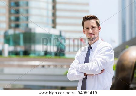Young businessman standing at outdoor