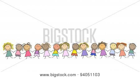 Kids - group of children - illustration