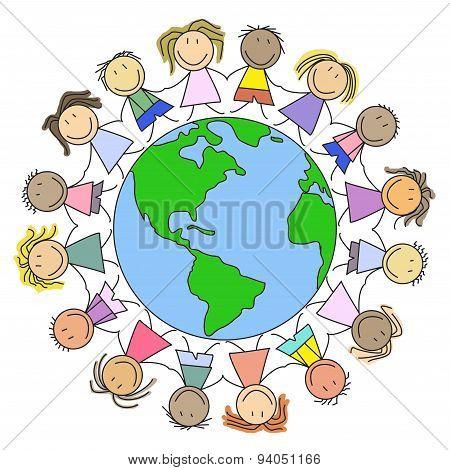 Kids on world - group of children on globe - illustration