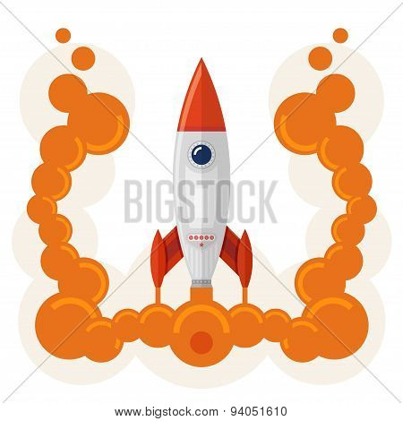 Rocket launch symbol of business startup
