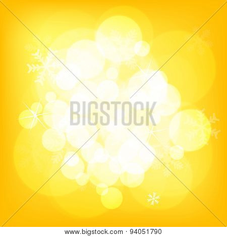 Abstract yellow christmas background with snowflakes
