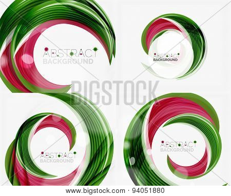 Vector green swirl line abstract background. Modern layout for your message, slogan or brand name