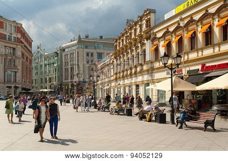 People Walking And Resting On Benches On Kuznetsky Most Street