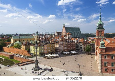 Top view of Castle Square with king's Sigismund's Column in Warsaw, Poland.