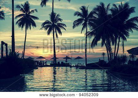 Soft twilight on amazing ocean tropical beach.