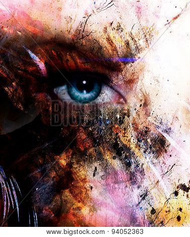 Beautiful Blue Women Eye Beaming, Color Spots Effect, Painting Collage, Phoenix Makeup