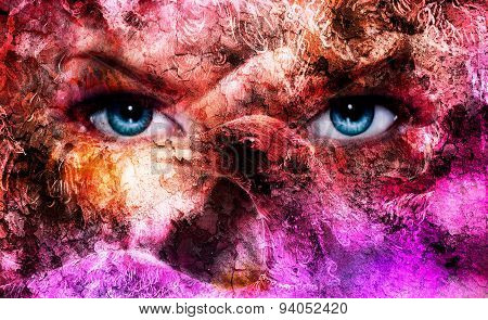 Beautiful Blue Women Eyes, Color Effect, Painting Collage, Violet Makeup And Ornaments. With Bird Ph