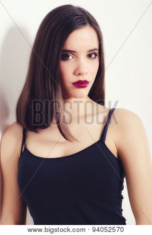 Portrait Of The Beautiful Girl With Long Brown Hair