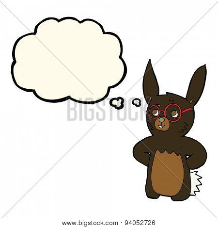 cartoon rabbit wearing spectacles with thought bubble