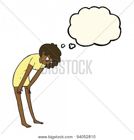 cartoon woman looking at her feet with thought bubble