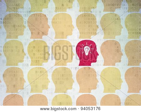 Finance concept: head with light bulb icon on Digital Paper background