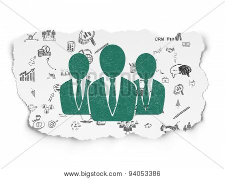 Business concept: Business People on Torn Paper background