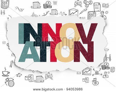 Finance concept: Innovation on Torn Paper background