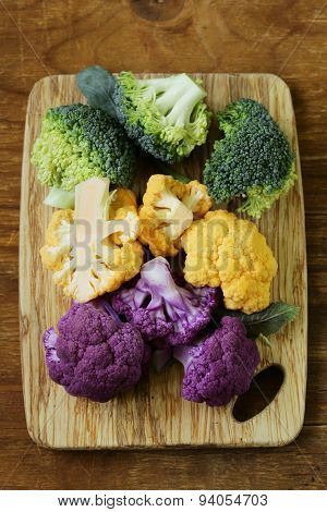 different cauliflower broccoli, green, yellow and purple