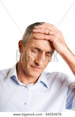 Portrait of depressed mature man.