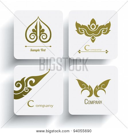 Vector Set Of Thai Ornament Design And Decoration On White Background, Thai Design