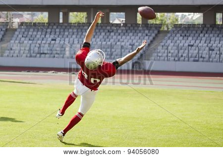 American football game. Players in action