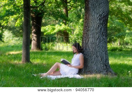 Beautiful Girl Sitting In Forest And Reading Book On Sunny Summer Day